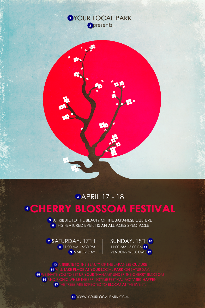 Poster design japan - Promote Your Japanese Festival With The Cherry Blossom Circle Poster With Delicate Colors And Eighteen Lines For Your Event Information