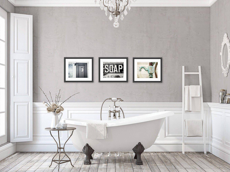 Rustic Bathroom Wall Decor Bathroom Wall Art Set Of 3 Prints Or