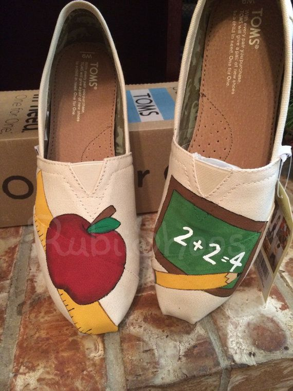 a6852ebbade27 RubiiShoos Original- School Toms- Pencil- Chalk Board- Ruler- Apple ...