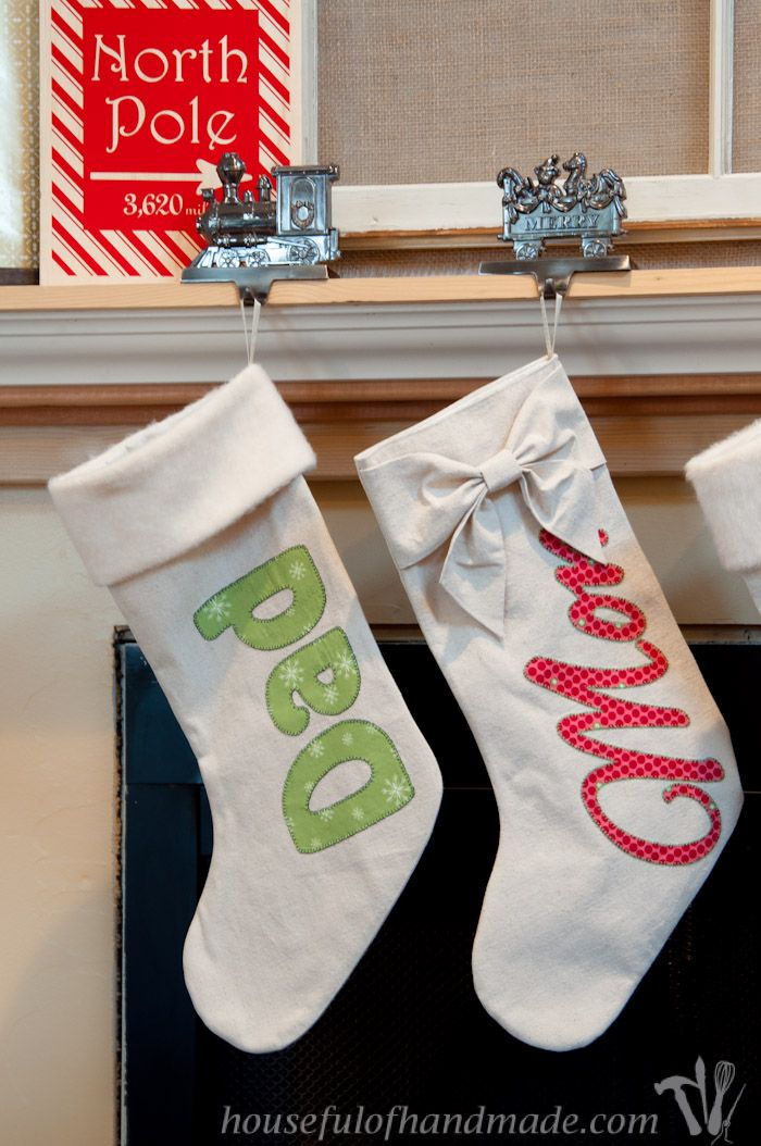 I Love These Beautiful Diy Personalized Drop Cloth Christmas Stockings Using Inexpensive Materials And A Few Tips To Liqué Everyone S Names On Their
