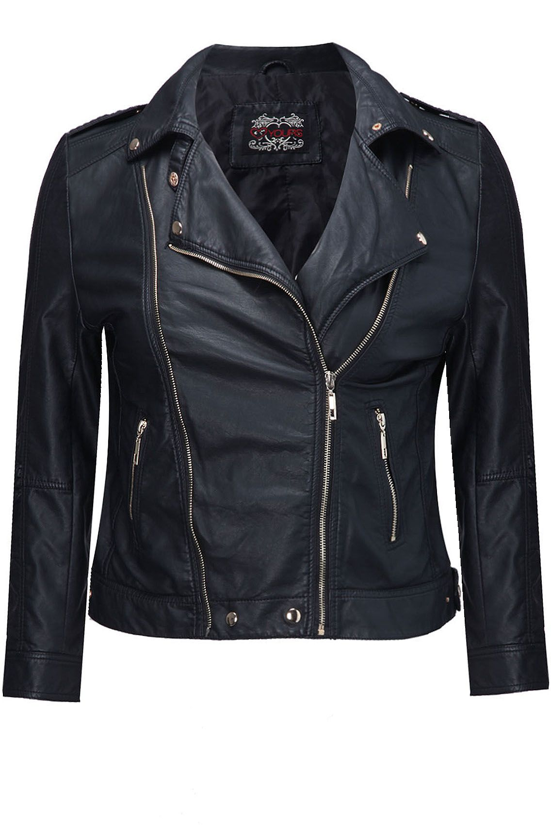 Yours Clothing Womens Plus Size Black biker jacket with zip detail ...