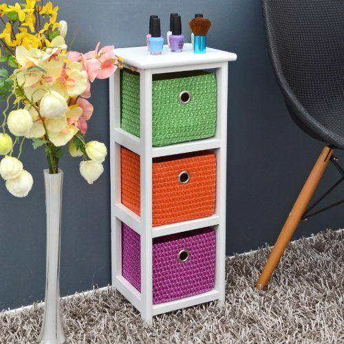 C/ómoda con 3 cestas en naranja,morado y verde de 62 cm para oficina ba/ño vivienta y taci/ón infantil