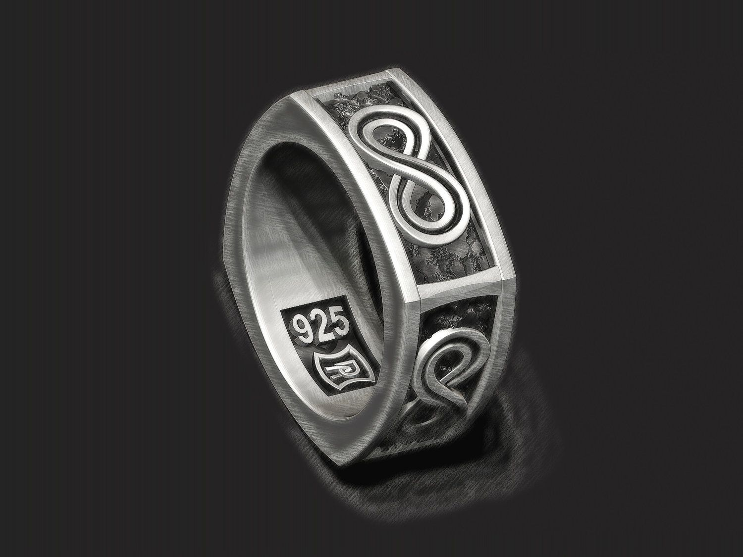 Infinity 8 square band in sterling silver square rings