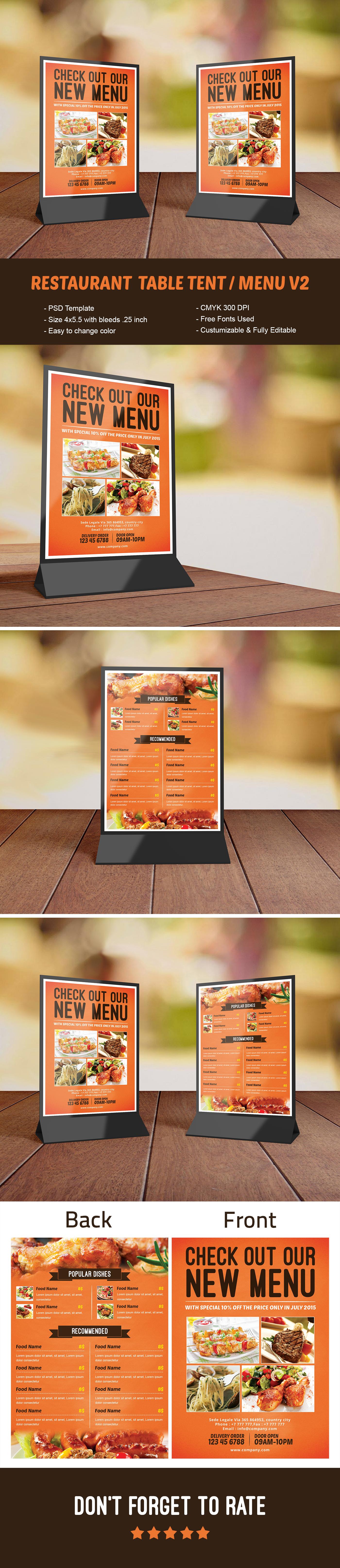 Restaurant Table Tent Menu V Template On Behance Mockups - Restaurant table tents