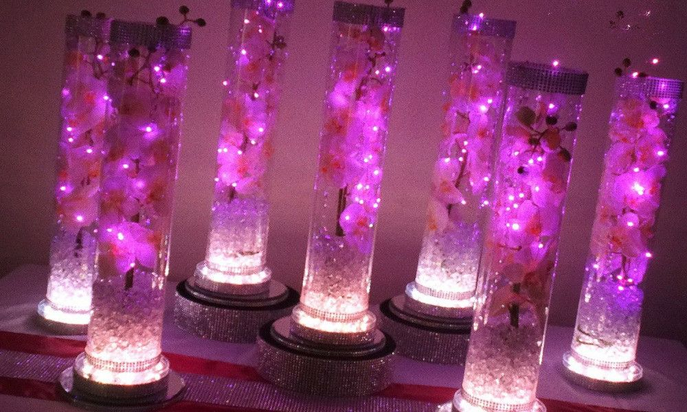 5pcs/package DHL Free shipping LED Round Shape Crystal Centerpiece Wedding 6 Inch 3AA Battery Operated Multi-color RGB Light