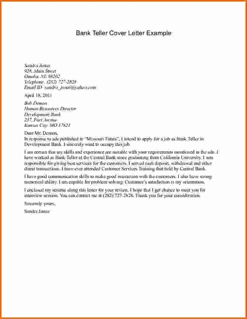 Cover Letters For Bank Teller Job Template Sample Letter Position Collection