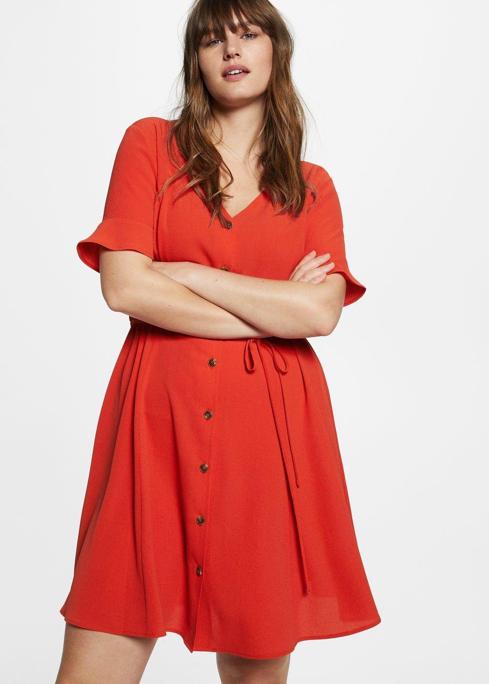 Robe Courte Boutonnee Grandes Tailles Violeta By Mango France Plus Size Plus Size Fashion For Women Fashion