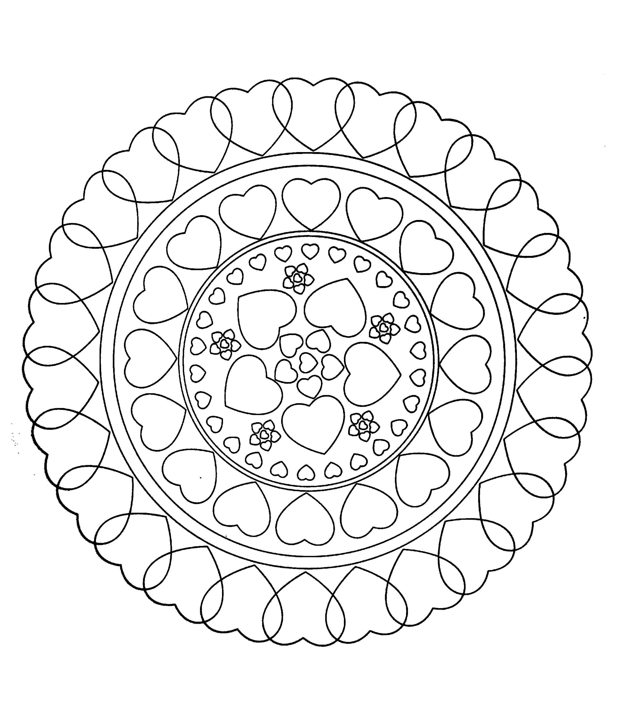 To print this free coloring page free mandala to color hearts