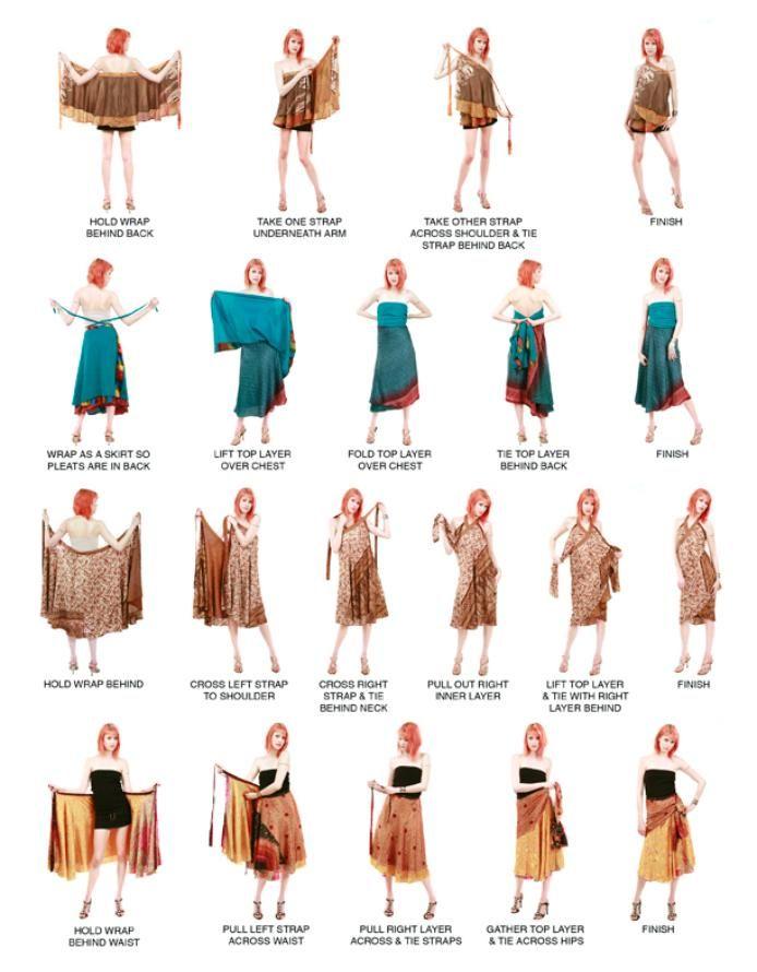 Instructions how to wrap vintage silk sari multi