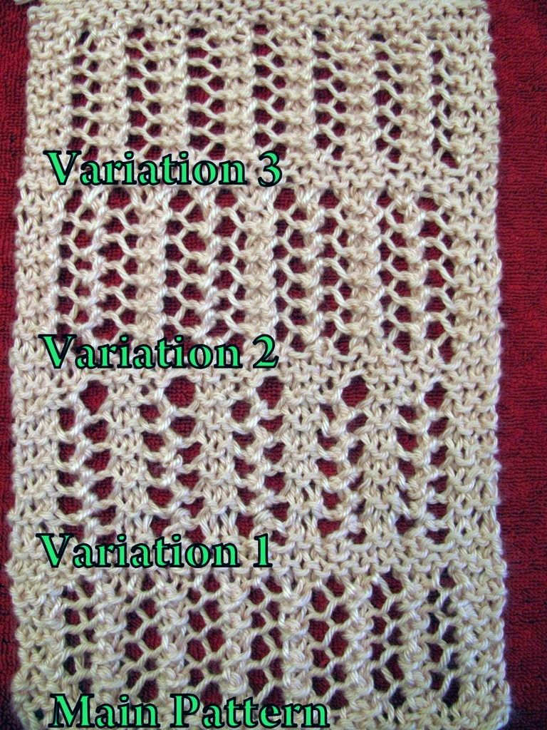 e161998411bf6e 4 Variations One-Row Repeat Lace Knitting Stitch Patterns - Instructions  for easy lace scarf knit with one-row repeat. 4 variations of lace.