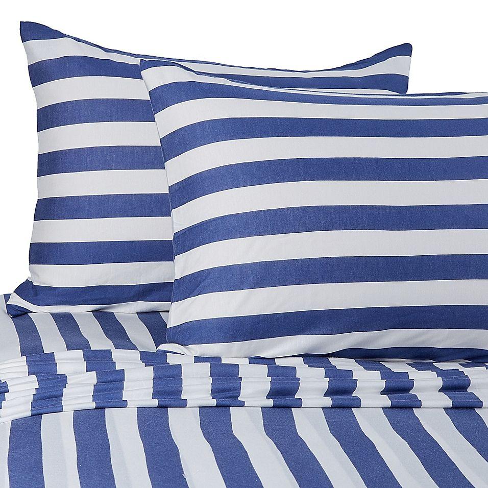 Pure Beech Jersey Knit Modal Stripe Full Xl Sheet Set In Navy Navy Stripe Striped Sheets Twin Xl Sheet Sets Striped Bed Sheets Jersey knit sheets twin xl