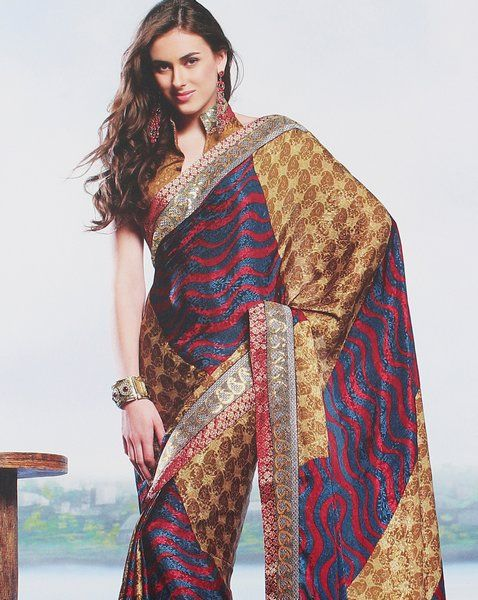 Designer Printed Crepe Sari With Sequins Embroidery