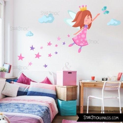Hada con estrellas vinilo infantil de pared para decorar - Habitaciones infantiles decoracion paredes ...