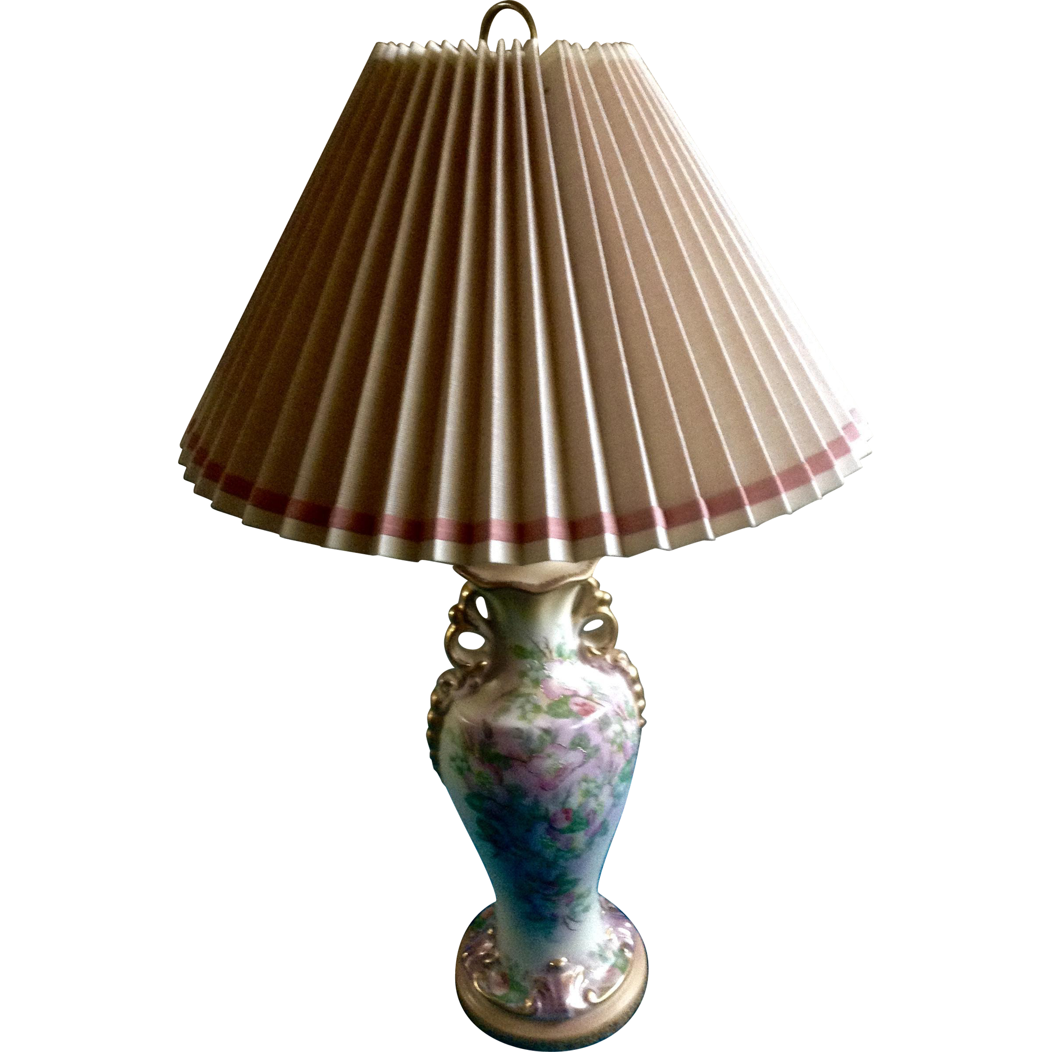 Beautiful Floral Lamp Hand Painted Vintage 1940 S 1950 S Porcelain Lamp Beautiful Lamp Porcelain Painting