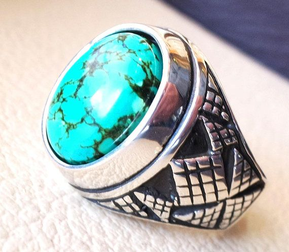 men ring nishapur tibetan turquoise blue natural high quality