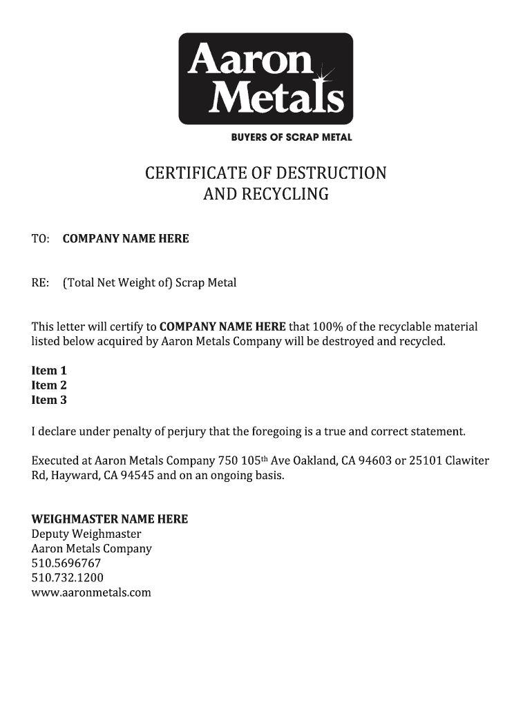 Certificate Of Destruction Template Fill Online Printable In Certificate Of Destruction Templ Business Template Professional Templates Certificate Templates