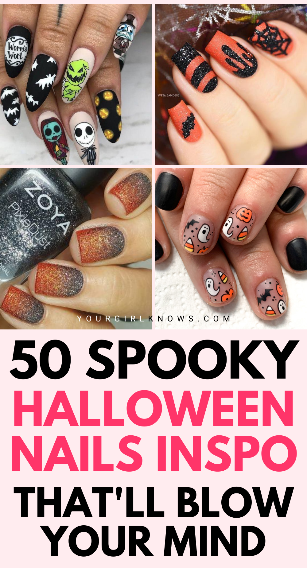 50 Cute Spooky Halloween Nails To Copy Easily Halloween Nail Designs Yourgirlknows In 2020 Halloween Nails Halloween Nail Designs Cute Acrylic Nails