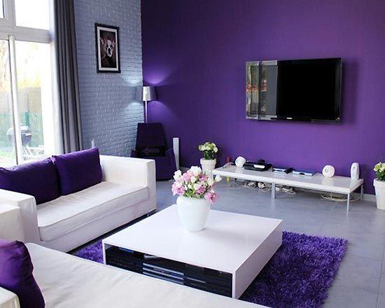 Purple Decor | White Purple Living Room Decor Design Ideas | Architecture,  Interior .