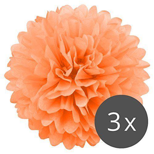 PomPoms 3er Set (Pompons) VIELE FARBEN | Pom Pom Deko für Party, Hochzeit oder Baby Shower | Pom-Poms (Ponpons) von Simplydeko (Pfirsich-Orange, 30 cm), http://www.amazon.de/dp/B01IR5WHXM/ref=cm_sw_r_pi_awdl_xs_CbYAyb0VYS81A