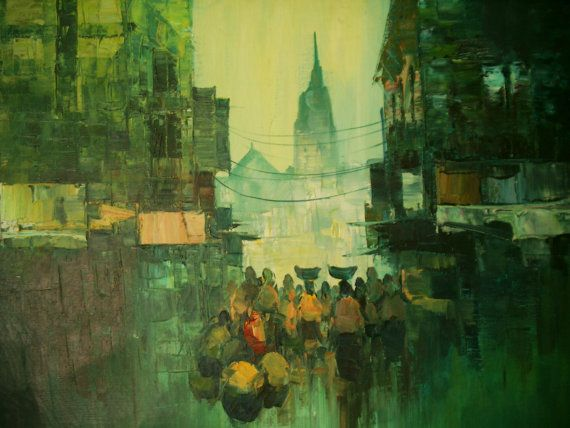 Vintage Impressionist Oil Painting City Market Exceptional Quality Great Texture and Composition