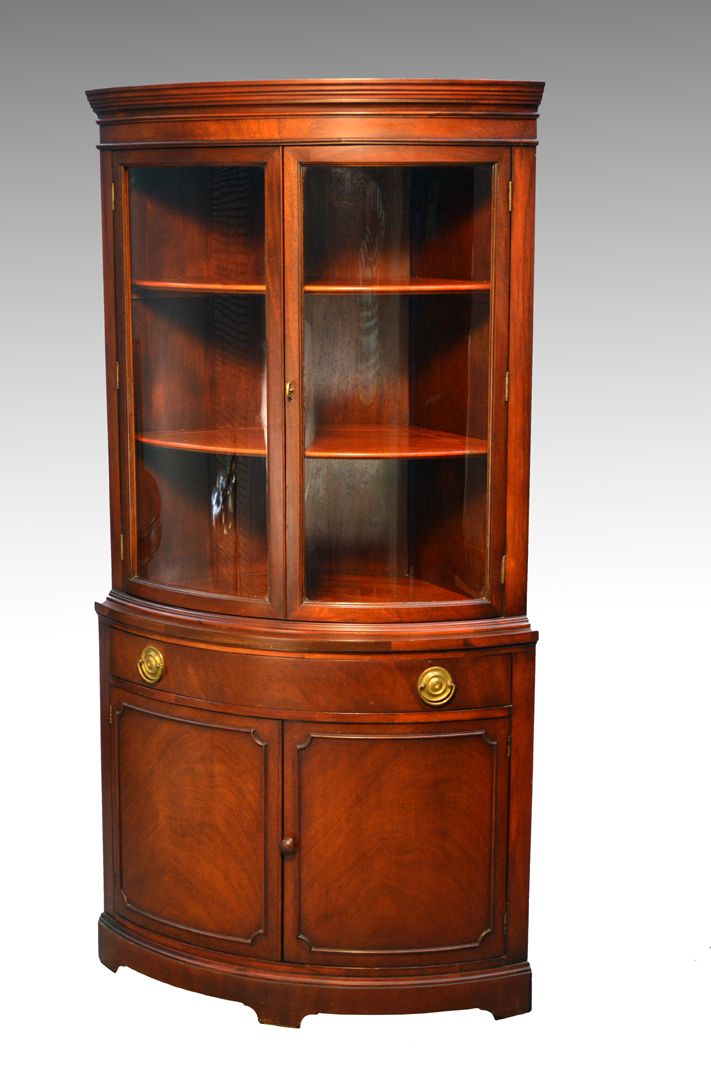 Sold Mahogany Corner China Closet By Drexel Antique