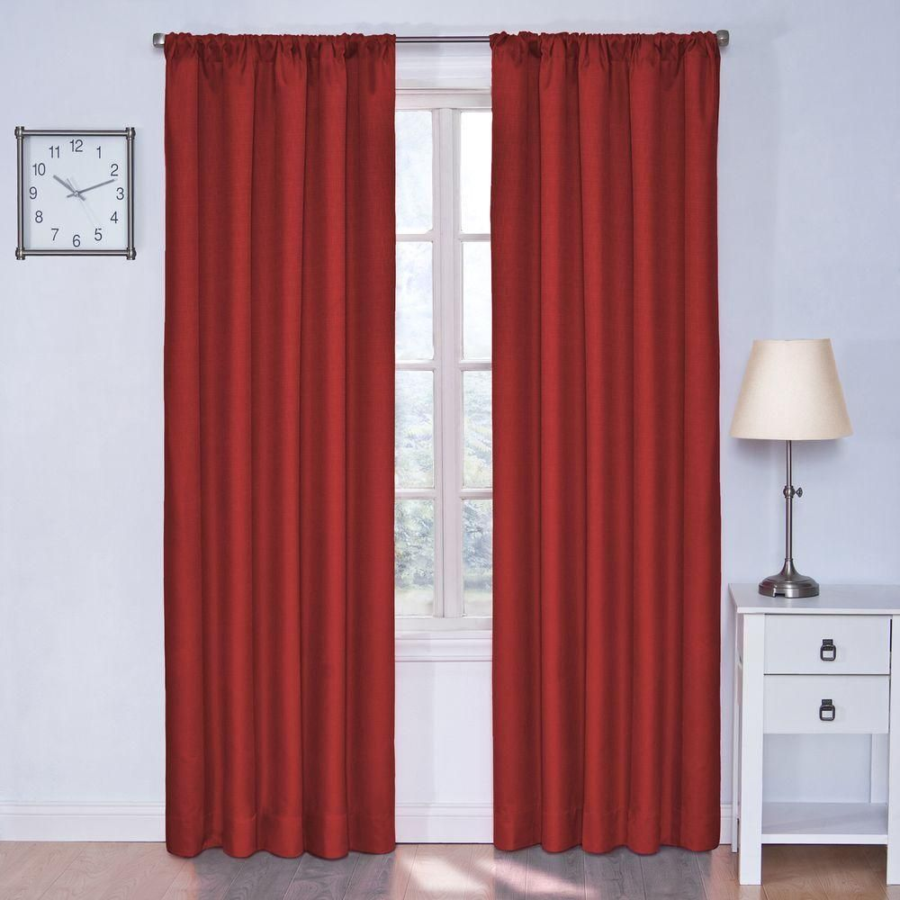 Eclipse Kendall Blackout Window Curtain Panel In Chili Red 42