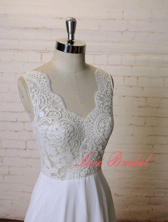A-Linie Pure Ivory Brautkleid Spitze Chiffon Kleid sehen durch ...