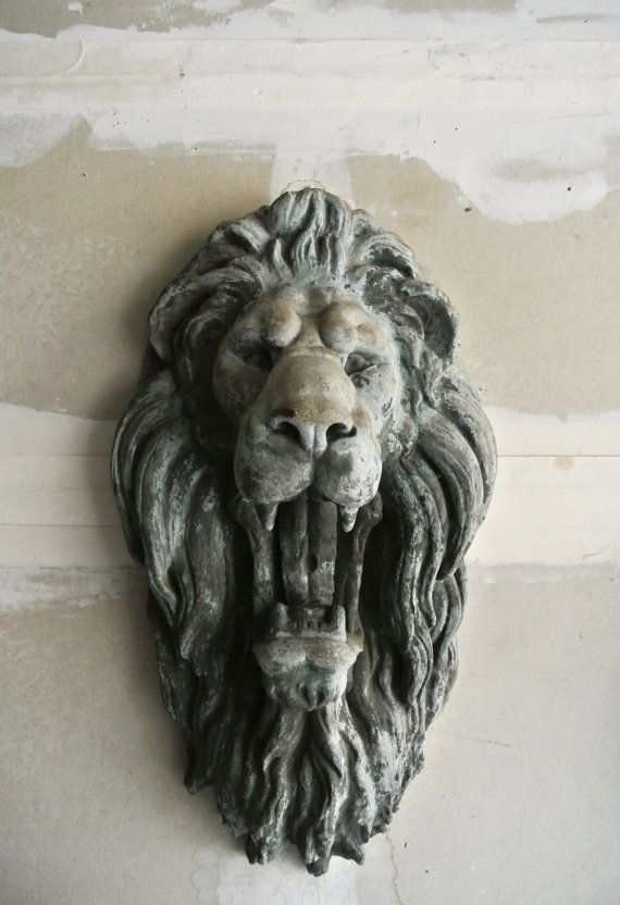 Antique concrete lion head wall mount set of 2 by theerabbithole