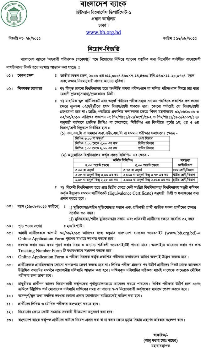 Career At Bangladesh Bank  Assistant Director Research Of