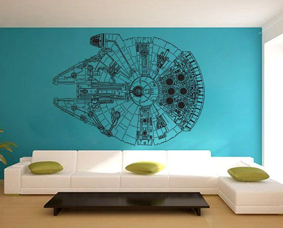 Star wars millennium falcon v3 vinyl wall art decal by dinaamon star wars room wall - Nerd wallpaper for walls ...