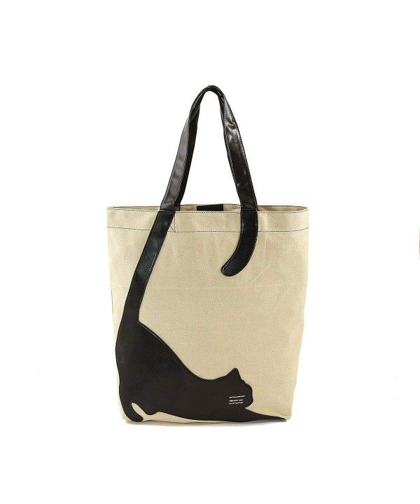 Photo of Women's Bags, Totes, Stretching Cat Silhouette On Canvas Tote Bag – Beige – CK12…