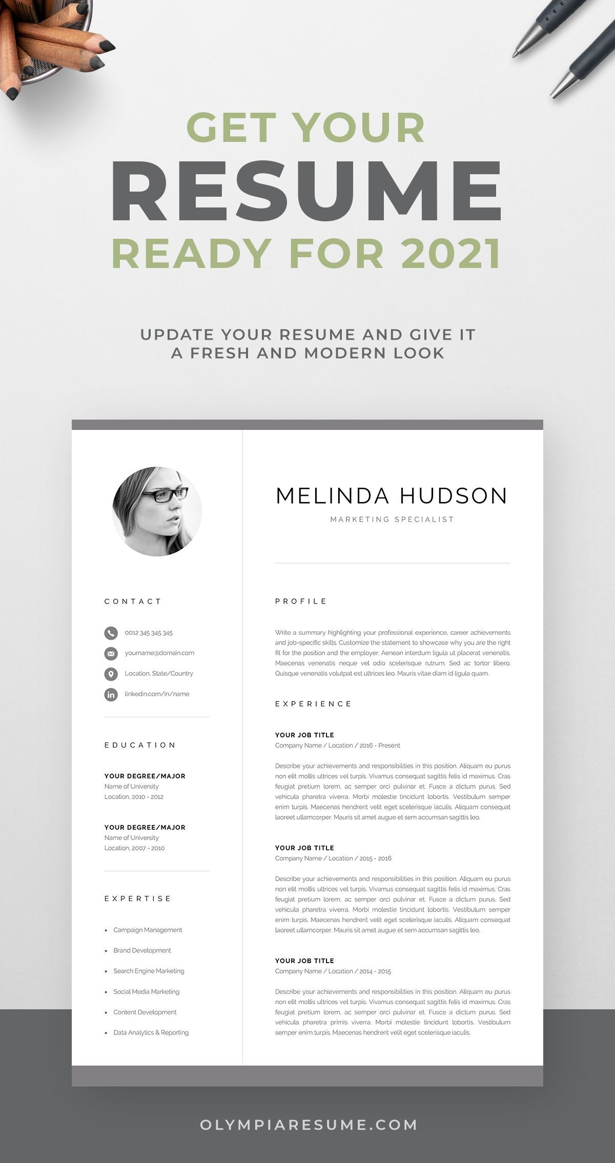 Cv Template With Photo Professional Resume Template For Word Etsy Resume Template Professional Cv Template Professional Resume Template