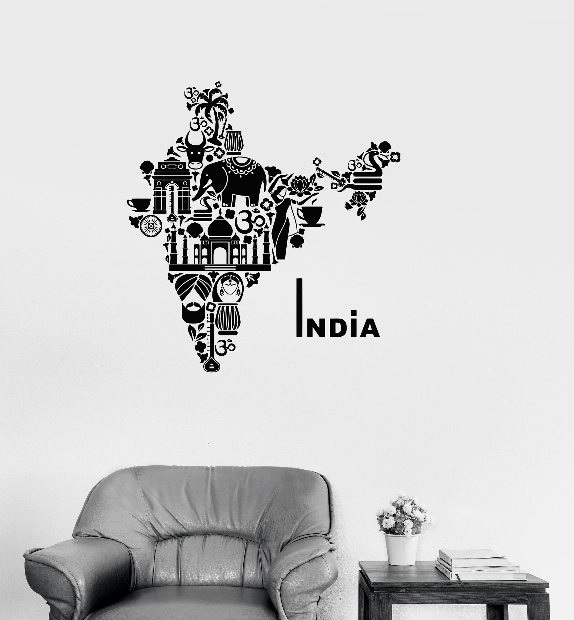 Vinyl Decal India Map Hindu Hinduism Elephant Symbols