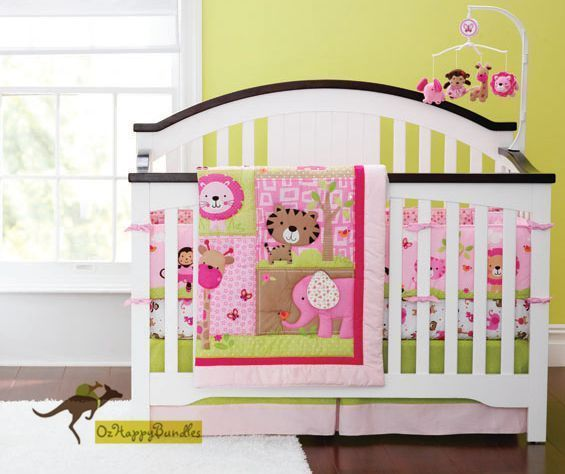new baby girls 7 pieces cotton nursery bedding crib cot sets pink