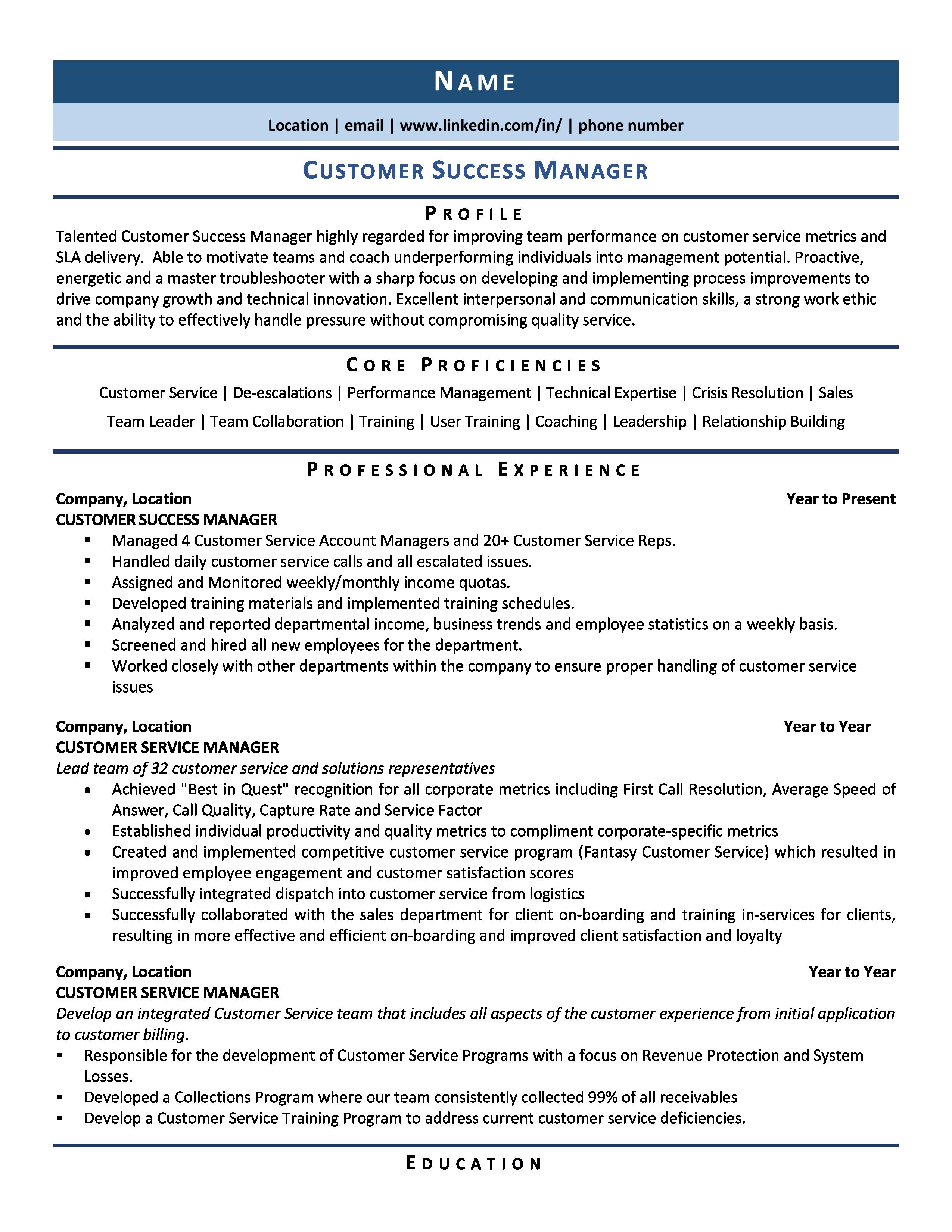Customer Success Manager Resume Samples Template For 2020 Manager Resume Customer Service Resume Examples Customer Service Resume