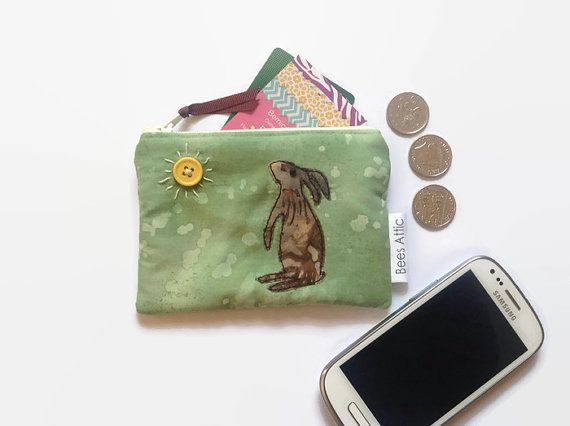 Coin Purse Hare Mad March Hare Green Credit Card by BeesAttic
