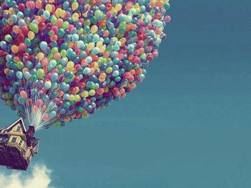 grafika up, balloons, and house