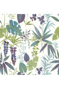 Brewster Home Fashions Descano Exotic Plum Botanical Ultra Removable Wallpaper