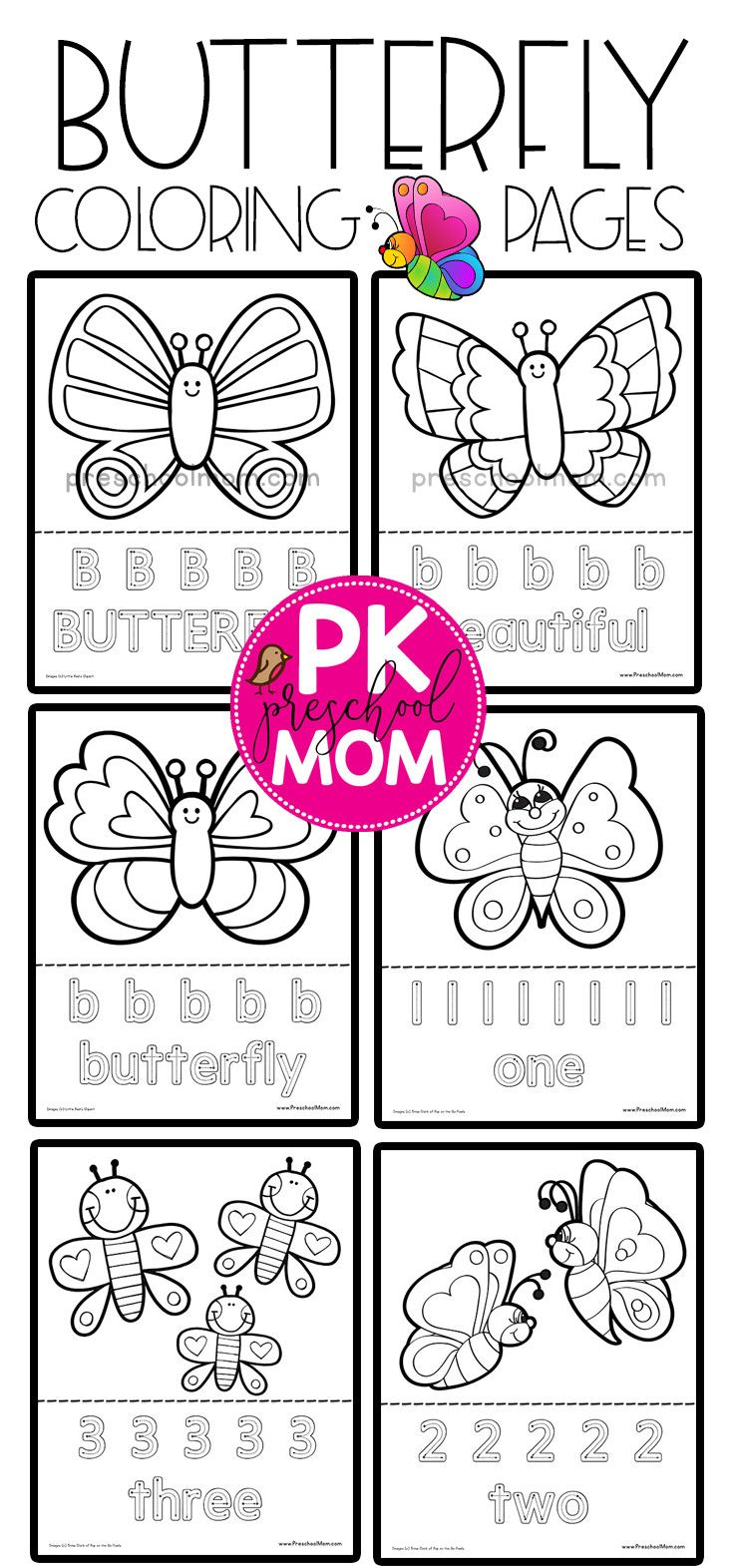 Free Butterfly Coloring Pages is part of Butterfly coloring page - From caterpillar to butterfly, these free butterfly coloring sheets are fantastic for preschool students  Each printable butterfly includes thick black lines for easy coloring  Your tots and preschool students will love how simple these butterflies are to color in  Additionally, you'll find each coloring page includes an educational activity such as handwriting or tracing for extra practice