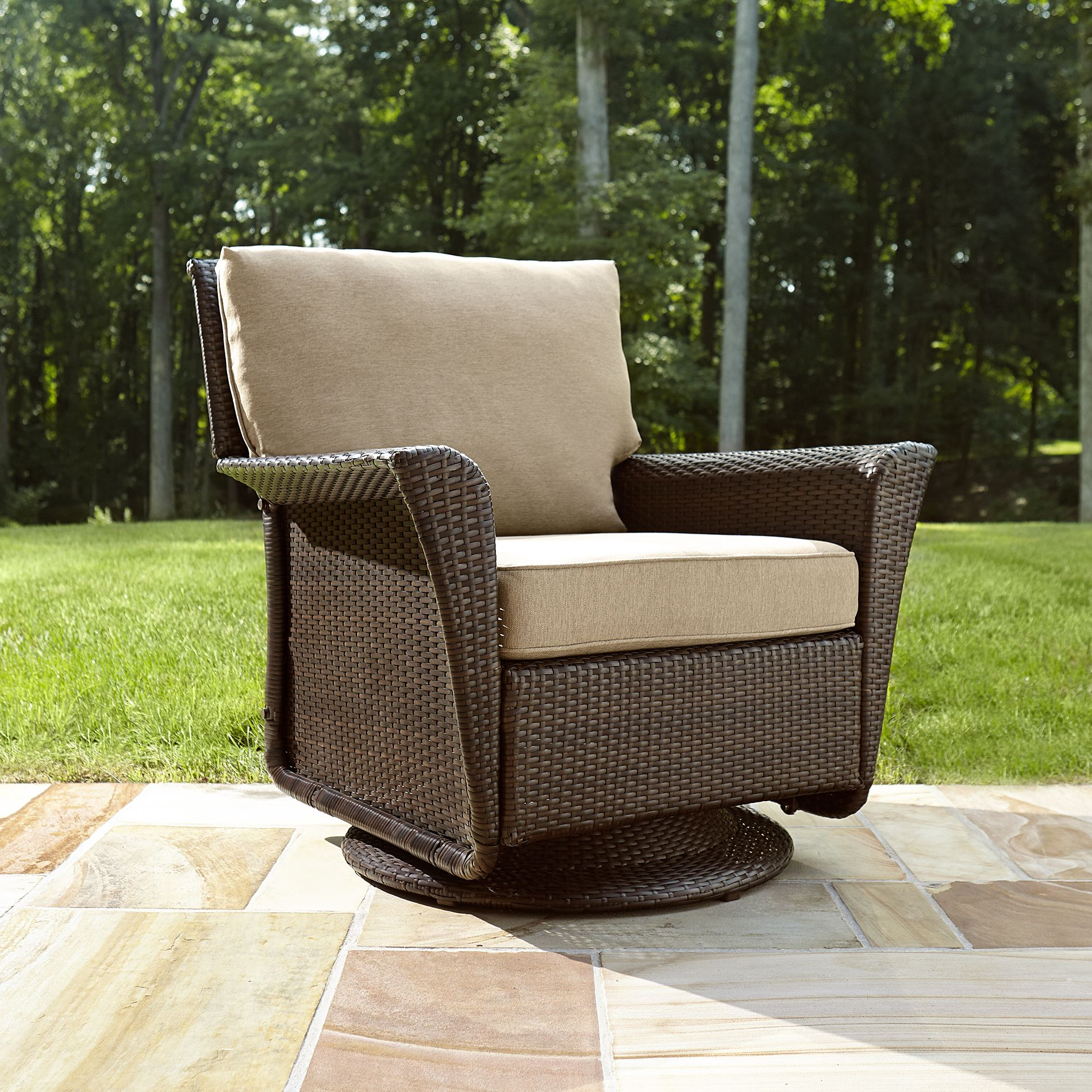 unwind on the ty pennington style parkside swivel glider