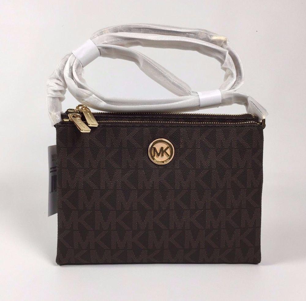 NWT Michael Kors Brown Crossbody PVC Handbag MK Signature Messenger Bag #MichaelKors #MessengerCrossBody