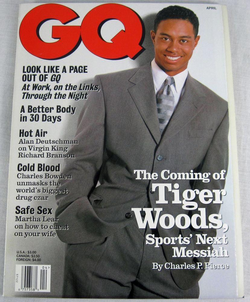GQ Mens Fashion Magazine April 1997 Tiger Woods Richard Branson ...