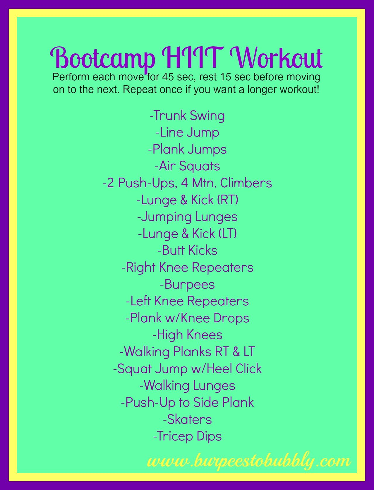 20 minute bootcamp hiit workout | Fitness :) | Pinterest ...