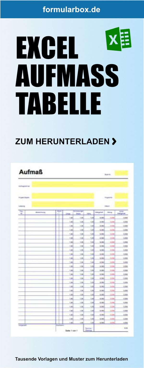 Ein Aufmass In Excel Als Xls Datei Zum Herunterladen Der Messgehalt Wird Automatisch Berechnet Hier Herunterladen Tabelle