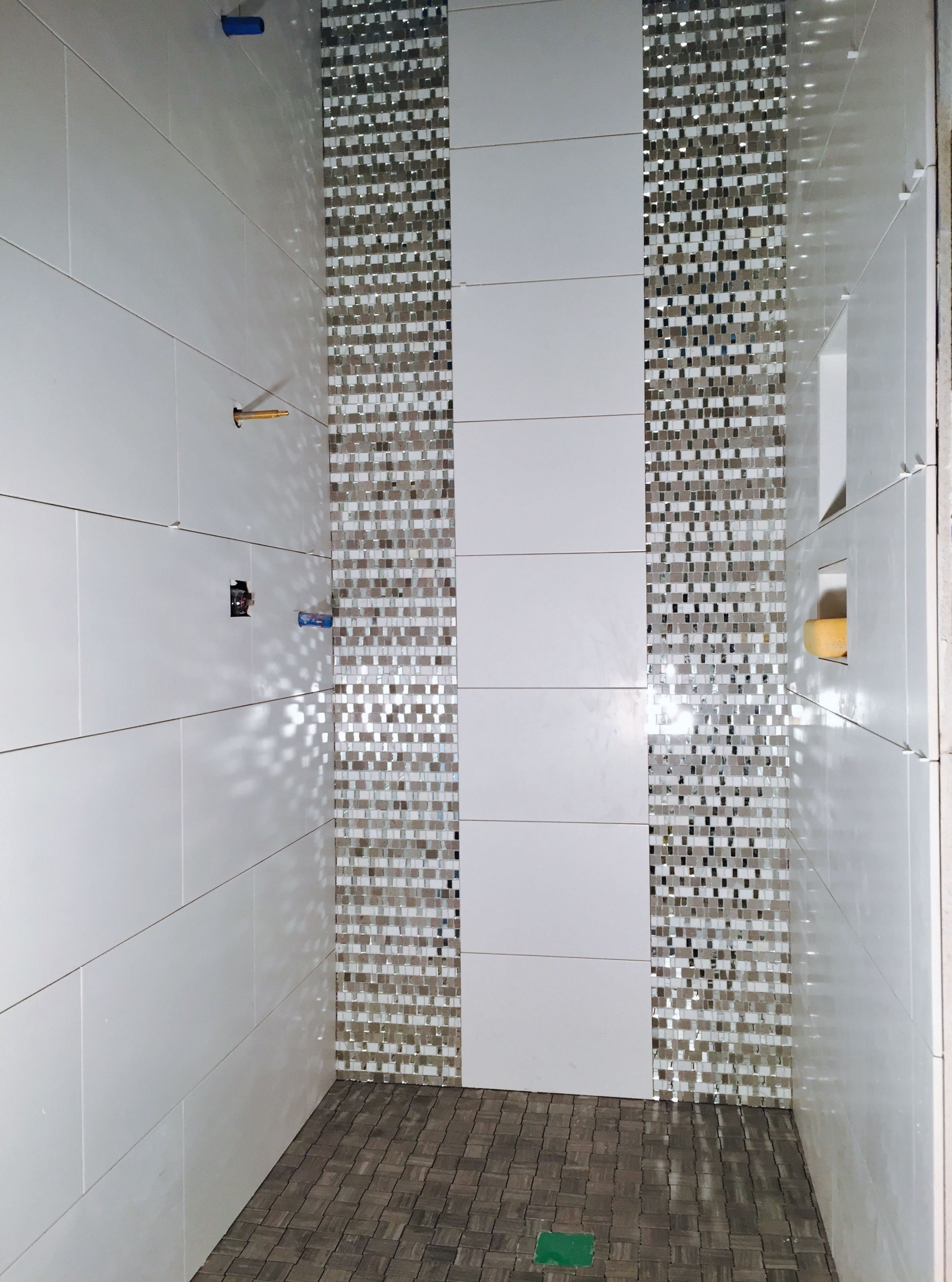 Guest shower with porcelain wall tile and glass/mirror tile as ...