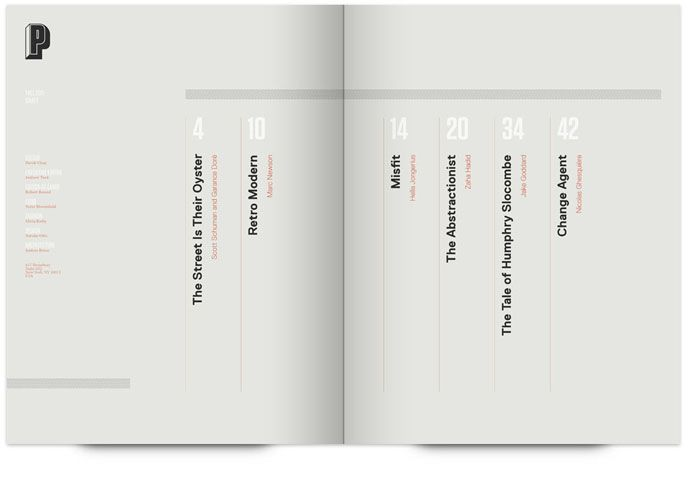 Simple vertical text table of contents book design for Text table design