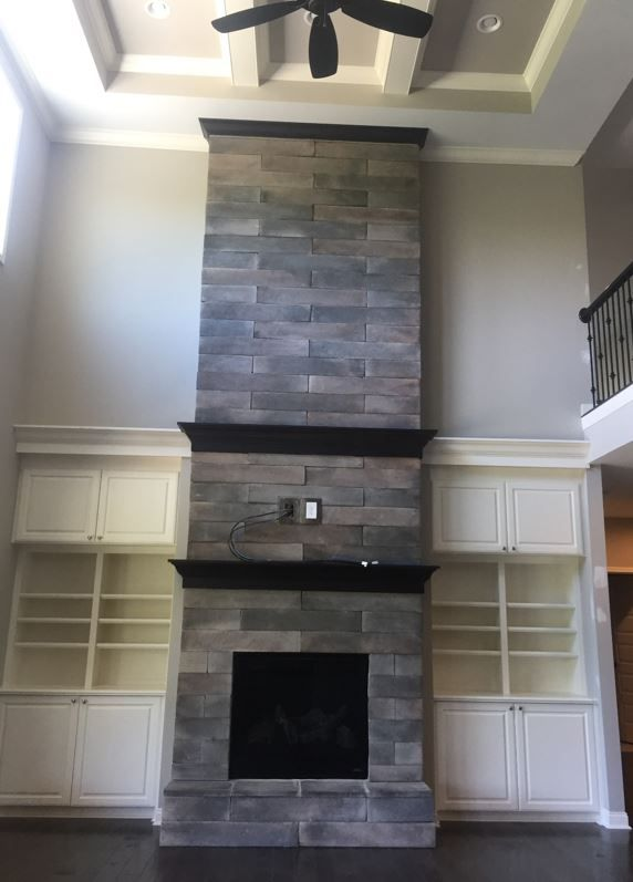Weathered Plank Stone Fireplace Floor Ceiling Fireplace Dream