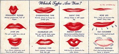 What type of kiss are you? (1948 novelty lip tester from Vintage Sleaze).