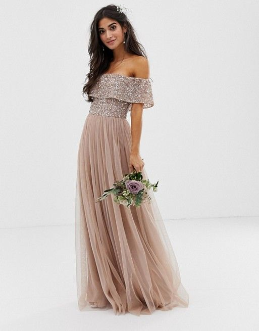 Maya Petite Bridesmaid bardot maxi tulle dress with tonal delicate sequins in taupe blush -   17 dress Bridesmaid tulle ideas