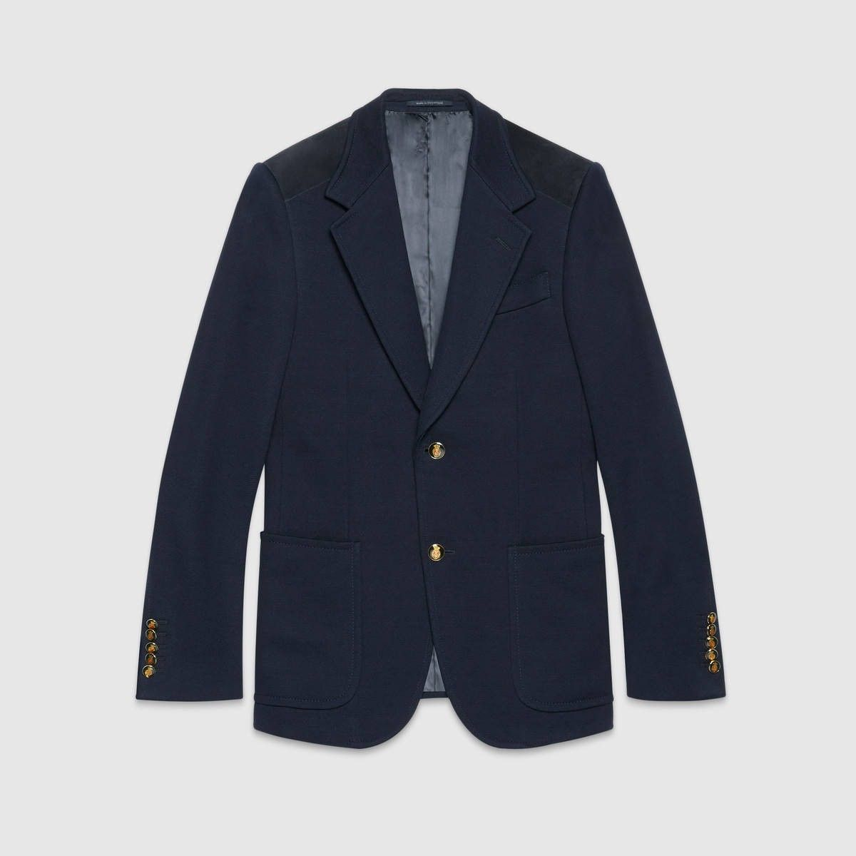 GUCCI Heritage Cotton Jacket With Suede - Blue Cotton. #gucci #cloth #all